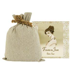 Fleurs du Jour / Marina Blue Bath Salts with Linen Bag (16oz)