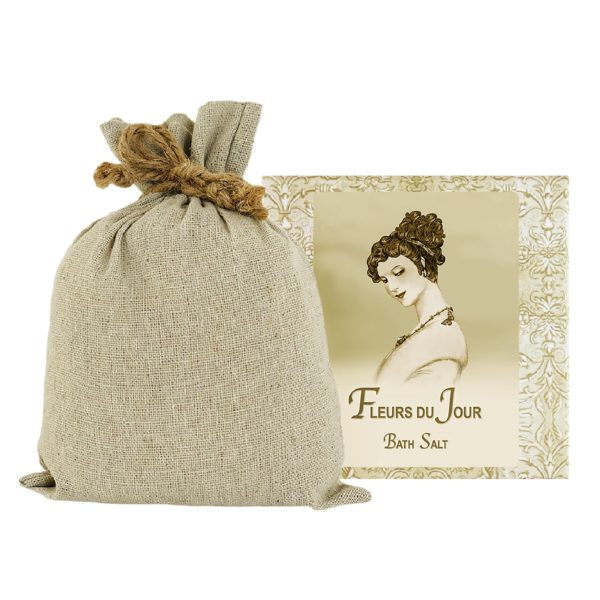 Fleurs du Jour / Marina Blue Bath Salts with Linen Bag (16oz)
