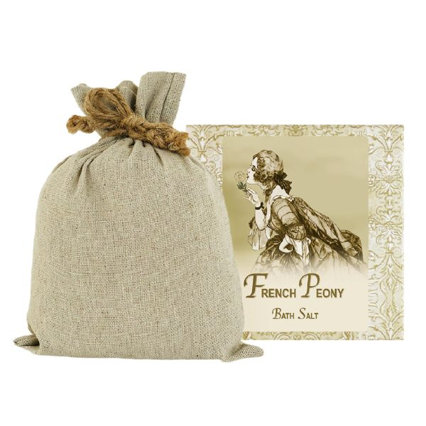 French Peony Bath Salts with Linen Bag (16oz)