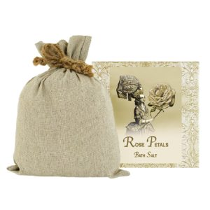 Rose Petal Bath Salts with Linen Bag (16oz)
