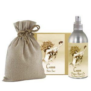 Cassis Bath Salts with Linen Bag (16oz) & French Body Argan Oil (8oz)