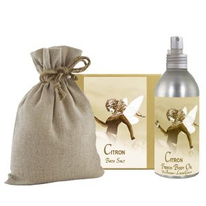Citron Bath Salts with Linen Bag (16oz) & French Body Argan Oil (8oz)