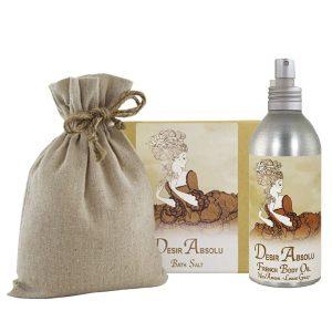 Desir Absolu Bath Salts with Linen Bag (16oz) & French Body Argan Oil (8oz)