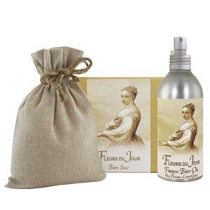 Fleurs de Jour/ Marina Blue Bath Salts with Linen Bag (16oz) & French Body Argan Oil (8oz)