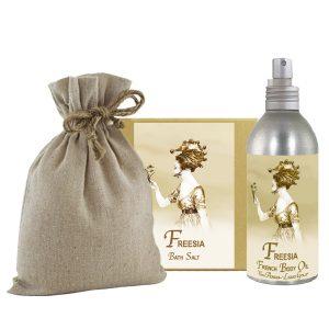 Freesia Bath Salts with Linen Bag (16oz) & French Body Argan Oil (8oz)