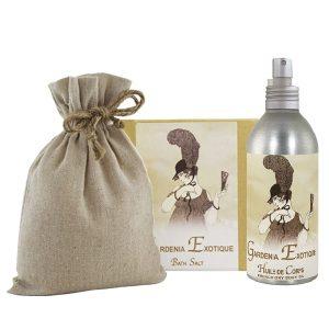Gardenia Bath Salts with Linen Bag (16oz) & French Body Argan Oil (8oz)