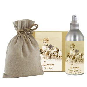 Lavender Bath Salts with Linen Bag (16oz) & French Body Argan Oil (8oz)