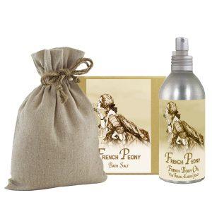 French Peony Bath Salts with Linen Bag (16oz) & French Body Argan Oil (8oz)