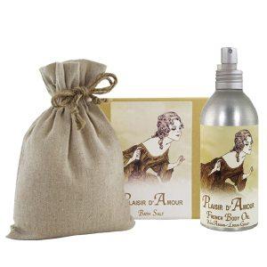 Plaisir Bath Salts with Linen Bag (16oz) & French Body Argan Oil (8oz)