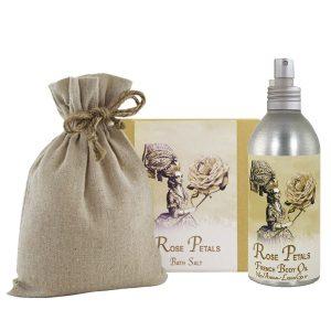 Rose Petal Bath Salts with Linen Bag (16oz) & French Body Argan Oil (8oz)