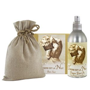 Tendre est la Nuit Bath Salts with Linen Bag (16oz) & French Body Argan Oil (8oz)
