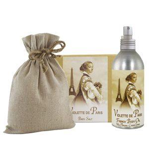 Violette Bath Salts with Linen Bag (16oz) & French Body Argan Oil (8oz)