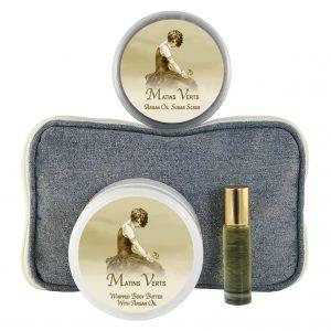 Matins Verts Body Butter (8oz), Sugar Scrub (8oz) & Roll-on Parfum (10ml)