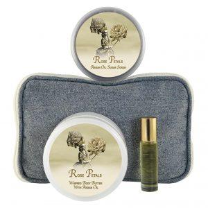 Rose Petal Body Butter (8oz), Sugar Scrub (8oz) & Roll-on Parfum (10ml)