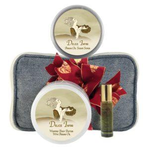 Delice Body Butter (8oz), Sugar Scrub (8oz) & Roll-on Parfum (10ml)