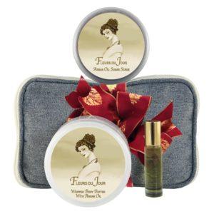 Fleurs du Jour / Marina Blue Body Butter (8oz), Sugar Scrub (8oz) & Roll-on Parfum (10ml)