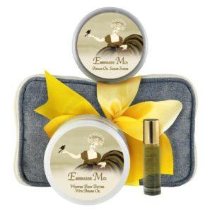 Embrasse Body Butter (8oz), Sugar Scrub (8oz) & Roll-on Parfum (10ml)