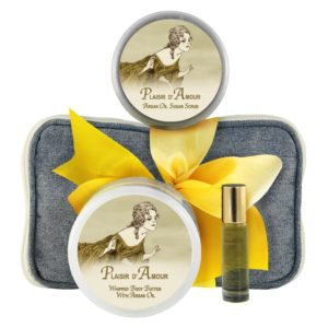 Plaisir Body Butter (8oz), Sugar Scrub (8oz) & Roll-on Parfum (10ml)