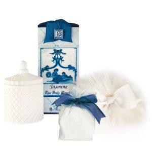 Jasmine Australian Wool Mini Puff, Rice Body Powder Refill & Paris Glass Vessel (5oz)
