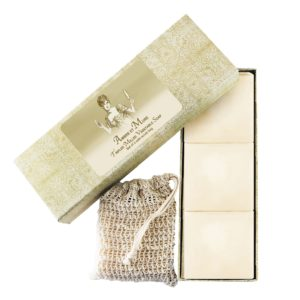Ambre et Mure Tripled Milled Vegetable Soap (Set of 3 with scrub bag)