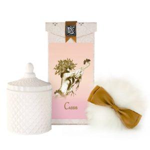 Cassis Australian Wool Puff, Rice Body Powder Refill & Paris Glass vessel (5oz)