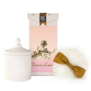 Dimanche Australian Wool Puff, Rice Body Powder Refill & Paris Glass vessel (5oz)