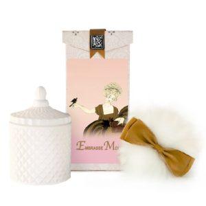 Embrasse Australian Wool Puff, Rice Body Powder Refill & Paris Glass vessel (5oz)