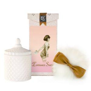 Esperance Santal Wool Puff, Rice Body Powder Refill & Paris Glass vessel (5oz)