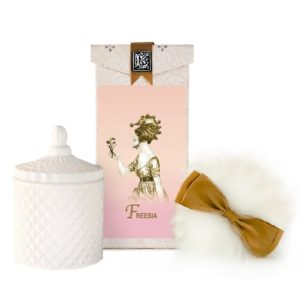 Freesia Australian Wool Puff, Rice Body Powder Refill & Paris Glass vessel (5oz)