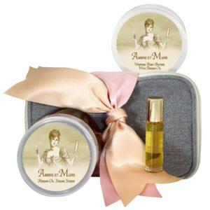 Ambre et Mure Body Butter (8oz), Sugar Scrub (8oz) & Roll-on Parfum (10ml)