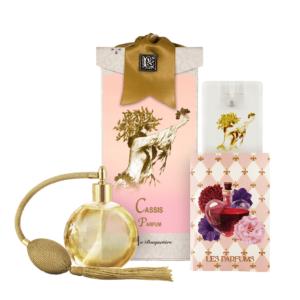 Cassis French Perfume (4.32 oz./128 ml.) & Eau de Parfum Spray Sanitizer (0.67 oz./20 ml.)