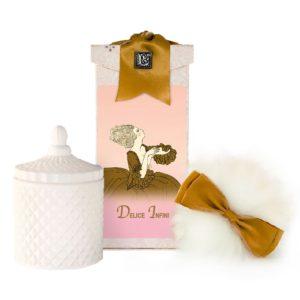 Delice Infini Australian Wool Puff, Rice Body Powder Refill & Paris Glass vessel (5oz)