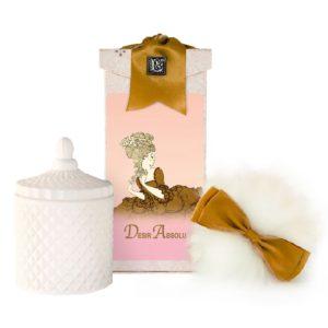 Desir Australian Wool Puff, Rice Body Powder Refill & Paris Glass vessel (5oz)