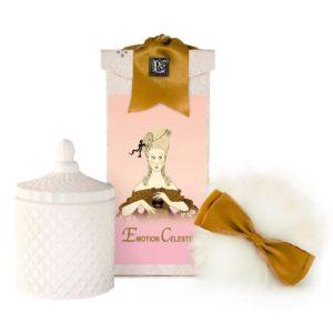 Emotion Celeste Australian Wool Puff, Rice Body Powder Refill & Paris Glass vessel (5oz)