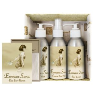 Esperance Santal Gift Set (4oz Lotion/Mist/Wash - Bonus Rice Body Powder Envelope)