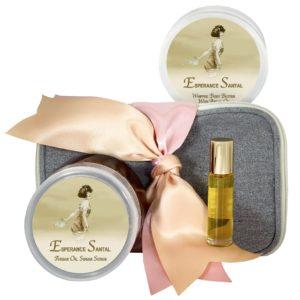 Esperance Santal Body Butter (8oz), Sugar Scrub (8oz) & Roll-on Parfum (10ml)