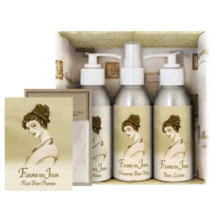 Fleurs du Jour / Marina Blue Gift Set (4oz Lotion/Mist/Wash - Bonus Rice Body Powder Envelope)