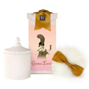 Gardenia Exotique Australian Wool Puff, Rice Body Powder Refill & Paris Glass vessel (5oz)