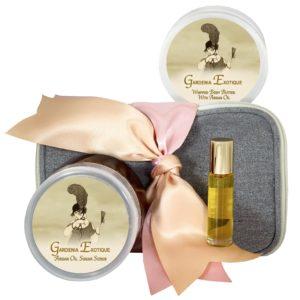 Gardenia Exotique Body Butter (8oz), Sugar Scrub (8oz) & Roll-on Parfum (10ml)