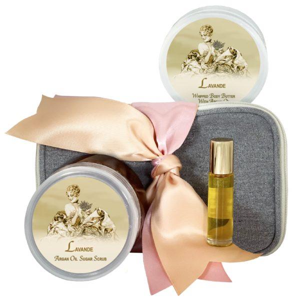 Lavande Body Butter (8oz), Sugar Scrub (8oz) & Roll-on Parfum (10ml)