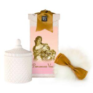 Pamplemousse Vanille Australian Wool Puff, Rice Body Powder Refill & Paris Glass vessel (5oz)
