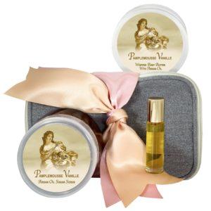 Pamplemousse Vanille Body Butter (8oz), Sugar Scrub (8oz) & Roll-on Parfum (10ml)