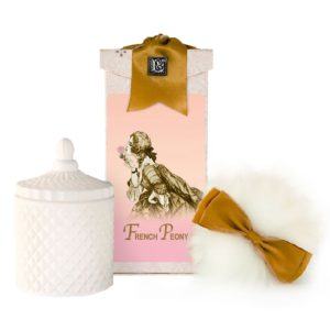 French Peony Australian Wool Puff, Rice Body Powder Refill & Paris Glass vessel (5oz)
