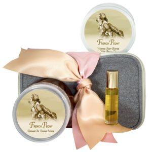 French Peony Body Butter (8oz), Sugar Scrub (8oz) & Roll-on Parfum (10ml)