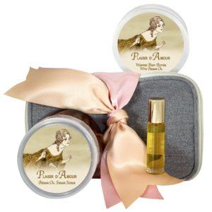 Plaisir D' Amour Body Butter (8oz), Sugar Scrub (8oz) & Roll-on Parfum (10ml)