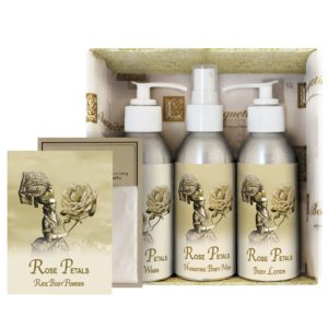 Rose Petal Gift Set (4oz Lotion/Mist/Wash - Bonus Rice Body Powder Envelope)