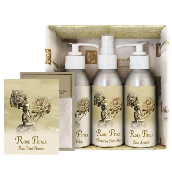 Rose Petal Gift Set (4oz Lotion/Mist/Wash - Bonus Rice Body Powder Envelope)