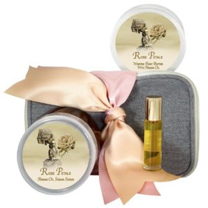 Rose Petals Body Butter (8oz), Sugar Scrub (8oz) & Roll-on Parfum (10ml)