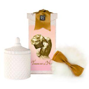 Tendre est la Nuit Australian Wool Puff, Rice Body Powder Refill & Paris Glass vessel (5oz)