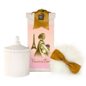 Violette de Paris Australian Wool Puff, Rice Body Powder Refill & Paris Glass vessel (5oz)